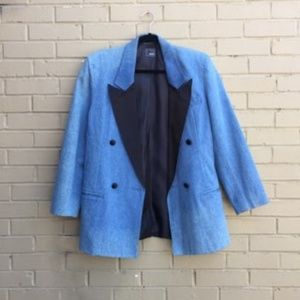 Vintage Denim Tuxedo Stripped Pants Suit